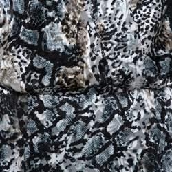 Alice + Olivia Black Animal Printed Devore Luba Crop Top & Athena Midi Skirt M