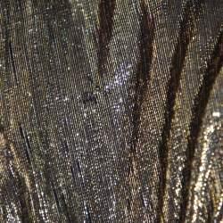 Alice + Olivia Gold & Black Silk Pleated Katz Maxi Skirt XS
