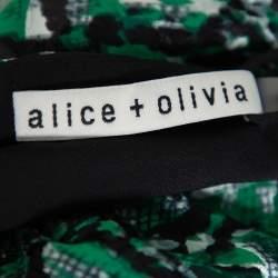 Alice + Olivia Green Animal Printed Devore Faux Wrap Choker Detail Top L