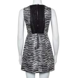 Alice + Olivia Monochrome Metallic Jacquard Sleeveless Everleigh Mini Dress S