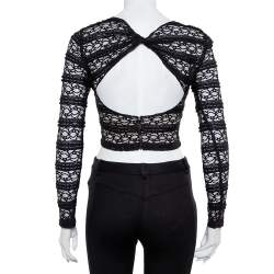 Alice + Olivia Black Lace Long Sleeve Rilo Crop Top XS