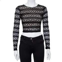 Alice + Olivia Black Lace Long Sleeve Rilo Crop Top XS