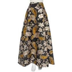 Alice + Olivia Black Lurex Jacquard Flared Rachele Maxi Skirt M