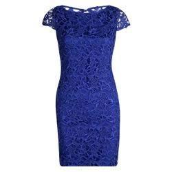 Alice + Olivia Clover Blue Lace Cap Sleeve Dress S