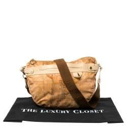 Alviero Martini 1A Classe Brown Vinyl Geo Half Moon Crossbody Bag