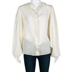 Antonio Berardi Cream Silk Bat Sleeve Detail Blouse M