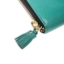 Anya Hindmarch Turquoise Leather Zip Around Wallet