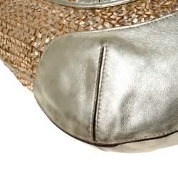 Anya Hindmarch Metallic Gold Woven Leather Jethro Hobo