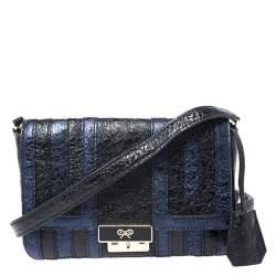 Anya Hindmarch Blue/Black Textured Stripe Leather Flap Crossbody Bag