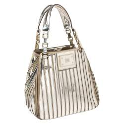 Anya Hindmarch Metallic Gold Striped Leather Belvedere Tote