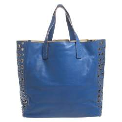 Anya Hindmarch Blue Eyelet Leather Nevis Tote