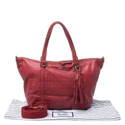 Anya Hindmarch Red Leather Tassel Tote