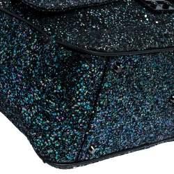 Anya Hindmarch Dark Blue Glitter Carker Boston Bag