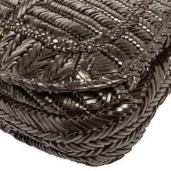 Anya Hindmarch Metallic Grey Woven Leather Flap Hobo