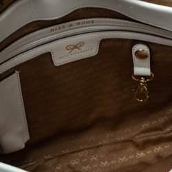 Anya Hindmarch White/Blue Leather Flap Shoulder Bag