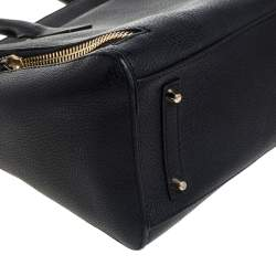 Anya Hindmarch Black Leather Front Zipper Pocket Satchel
