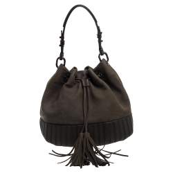 Anya Hindmarch Olive Green Leather Rhodes Bucket Bag