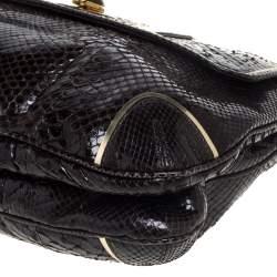 Anya Hindmarch Dark Brown Python Leather Shoulder Bag