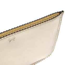 Anya Hindmarch Metallic Gold Scalloped Leather Pouch