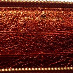 Anya Hindmarch Metallic Orange Textured Embossed Leather Zip Around Wallet