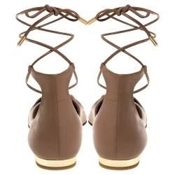 Aquazzura Beige Leather Christy Ankle Wrap Ballet Flats Size 37