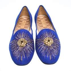 Aquazzura Royal Blue Suede Sunlight Embellished Loafers Size 39