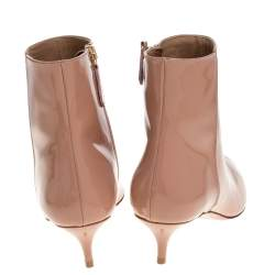 Aquazzura Beige Patent Leather Quant Pointed Toe Ankle Booties Size 37