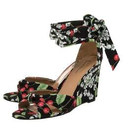 Aquazzura Multicolor Cherry Blossom Print Fabric All Tied Up Sandals Size 40
