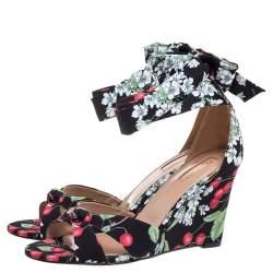 Aquazzura Multicolor Fabric Cherry Bloosom Ankle Wrap Wedge Sandals Size 39.5