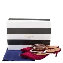 Aquazzura Maroon Velvet Sabine Crystal Embellished Mules Size 38