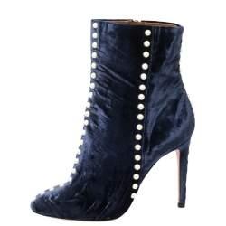 Aquazzura Navy Blue Velvet Follie Pearls Ankle Boots Size 39.5