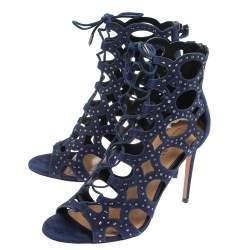 Aquazzura Blue Suede Begum Studded  Cut Out  Lace Up Sandals Size 38