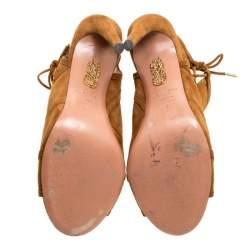 Aquazzura Brown Suede Oui Baby Peep Toe Booties Size 36