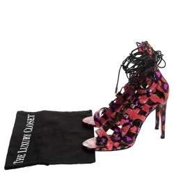 Aquazzura Multicolor Python Leather Elaphe Cut Out Ankle Wrap Sandals Size 37