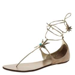 Aquazzura Beige Suede And Metallic Gold Leather Poppy Delevingne Midnight Thong Flats Size 39.5