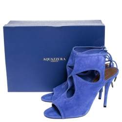 Aquazzura Blue Cutout Suede Sexy Thing Peep Toe Sandals Size 39.5