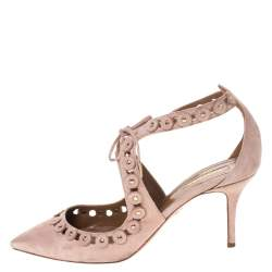 Aquazzura Beige Suede Leather Studded Lace Up Pointed Toe Pumps Size 40