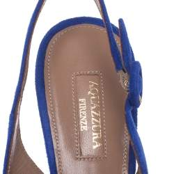 Aquazzura Blue Suede Embellished Exotic Pointed Toe Sandals Size 39