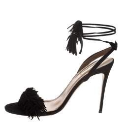 Aquazzura Black Suede Wild Thing Ankle Wrap Sandals Size 35