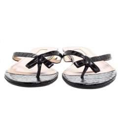 Aquazzura Black Croc Embossed Leather 'Riva' Flat Sandals Size 37