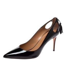 Aquazzura Black Patent Leather Forever Marilyn Cut Out Tassel Detail Pointed Toe Pumps Size 41