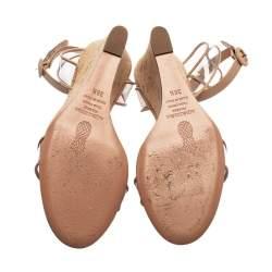 Aquazzura Beige PVC and Leather Trim Minimalist Cork Wedge Ankle Strap Sandals Size 38.5