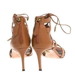 Aquazzura Brown Leather Beverly Hills Open Toe Sandals Size 35.5