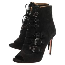 Aquazzura Black Suede Buckle Detailed Lace And Zipper Booties Size 38
