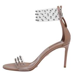 Aquazzura Beige PVC and Leather Illusion Studded Sandals Size 41