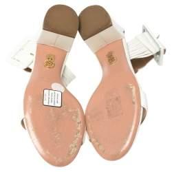 Aquazurra White Leather Casablanca Sandals Size 38.5