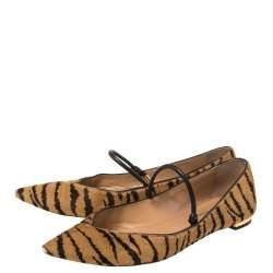 Aquazzura Tan Tiger Print Calfhair Mary Jane Pointed Toe Flats Size 37.5