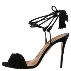 Aquazzura Black Fringed Suede Wild Thing Ankle Wrap Sandals Size 39