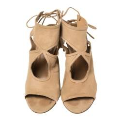 Aquazzura Beige Suede Sexy Thing Cutout Wedge Sandals Size 38