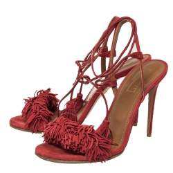 Aquazzura Red Suede Wild Thing Fringe Ankle Wrap Sandals Size 39